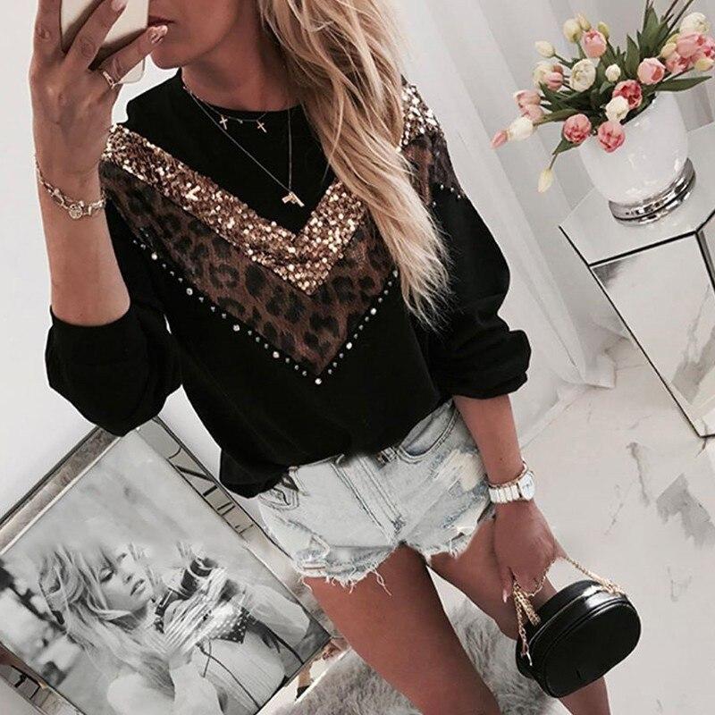 Laamei, suéter de invierno suelto con estampado de leopardo para mujer, jersey de talla grande de gran calidad, suéter grueso de gran tamaño, Tops femeninos