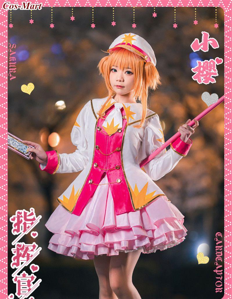 أنيمي Cardcaptor ساكورا Kinomoto تأثيري زي قائد لطيف الوردي لوليتا فستان أنثى نشاط حفلة لعب الأدوار الملابس S-L