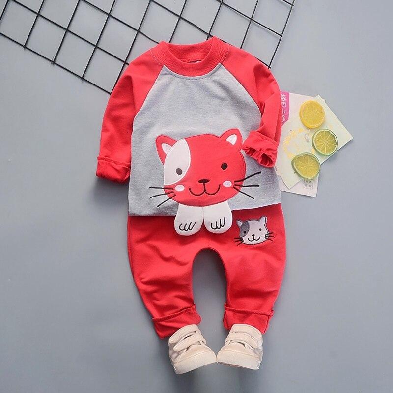 Otoño niños trajes 1Y-4Y bebé niñas niños Casual de manga larga de dibujos animados sudadera Tops + Pantalones 2 piezas conjunto de pantalones 3 colores