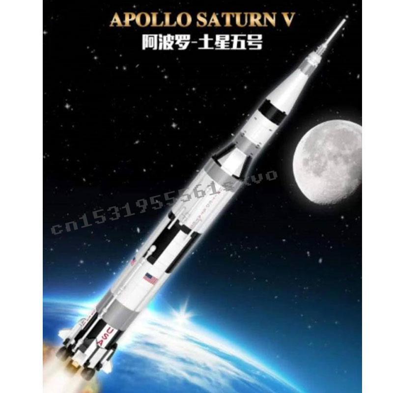 Lepinblocks La NASAED Apollo Saturn V ideas módulo Lunar creador modelo de cohete bloques de construcción de ladrillos 11 Lunar Lander regalos de los niños