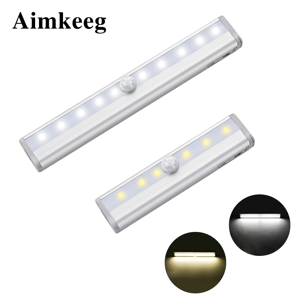 Aimkeeg 6/10 светодиодный s под свет шкафа движения PIR Сенсор светильник светодиодный свет Батарея приведенный в действие питьевой Беспроводной шкаф ночника