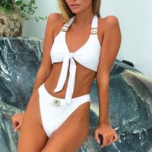 2020 strass maillot de bain femmes taille haute Bikini cristal diamant Bikini ensemble en métal maillots de bain femme luxe natation costume blanc
