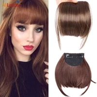 alileader high quality bangs blunt bang hairpieces neat front false fringe thin synthetic hair bangs 2clip in hairpiece fringe