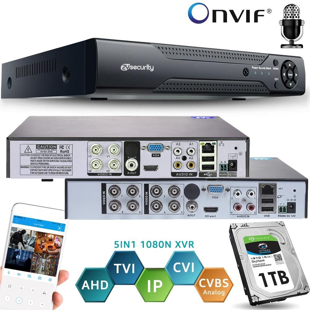 Onvif CCTV DVR 4CH 8 قناة CCTV الهجين مسجل H.264 1080N 5IN1 XVR ل كاميرا AHD التناظرية IP TVI CVI كاميرا NVR دعم الصوت