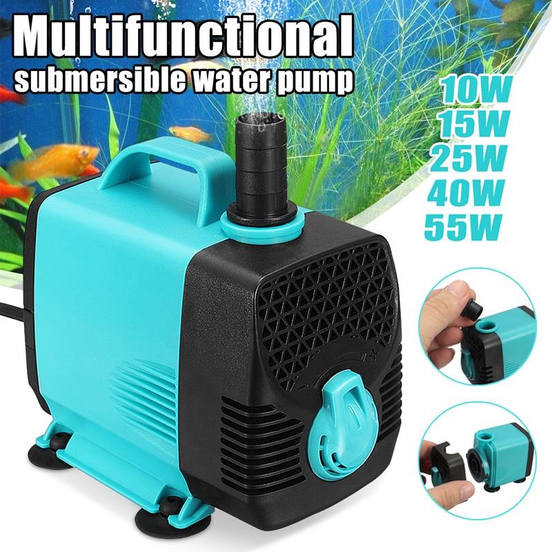 10 w/15 w/25 w/40 w/55 w 600-3000l/h ultra silencioso filtro de bomba de água submersível tanque de aquário fonte de lagoa de peixes alto-elevador ac 110 v