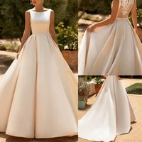 new satin ball gown wedding dress with bags vestido de noiva chic lace appliques buttons back long plissee bride dresses 2021