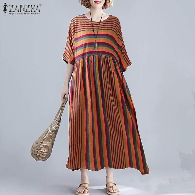 ZANZEA 2020 verano Maxi vestido Vintage mujer rayas Sundress Casual media manga Vestidos mujer alta túnica cintura de talla grande 5XL