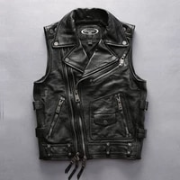 free shipping men new style cowhide top quality motorcycle rider genuine leather vest double zipper sleeveless coat