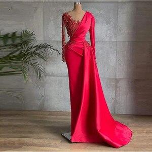 Glamorous Red Satin Dubai Evening Dresses Long Sleeves Sheer Neck Beads 2021 Prom Gowns Celebrity Formal Dress فساتين السهرة