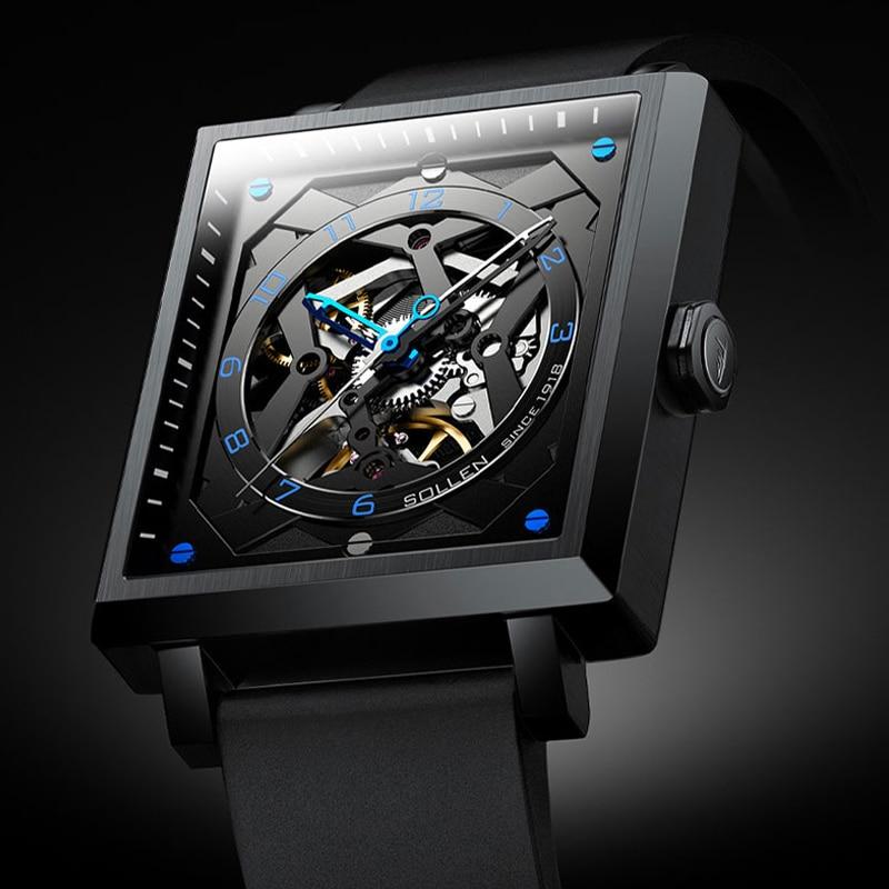التلقائي الميكانيكية ساعة رجالية فاخرة ماركة تصميم عصري مستطيل ساعة اليد سيليكون حزام مقاوم للماء ساعة Montre أوم
