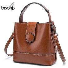 BISONJS, bolso de mano informal Vintage de cuero con asa superior para mujer, bolso de lujo para mujer, bolso de hombro tipo bandolera 1754