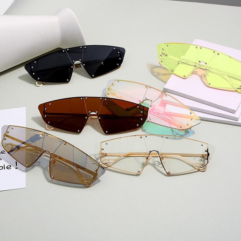 Gafas de sol de ojo de gato de moda para mujer 2019, espejo Irregular de una pieza de lujo con cristales rosas, gafas con remache para hombres y mujeres, gafas Vintage UV400