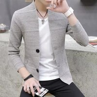 2021 knitting cardigan male v neck outer wear in the spring and autumn light fashion handsome recreational sweater
