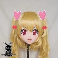 rabbit 85 resin cross dress pretty girl head bid doll mask japanese anime kigurumi mask cosplay with wig