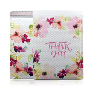 20Pcs Thank You Bubble Mailers Flower Printed Plastic Bubble Envelope Padded Shipping Bags With Bubble Business Supplies 25x33cm