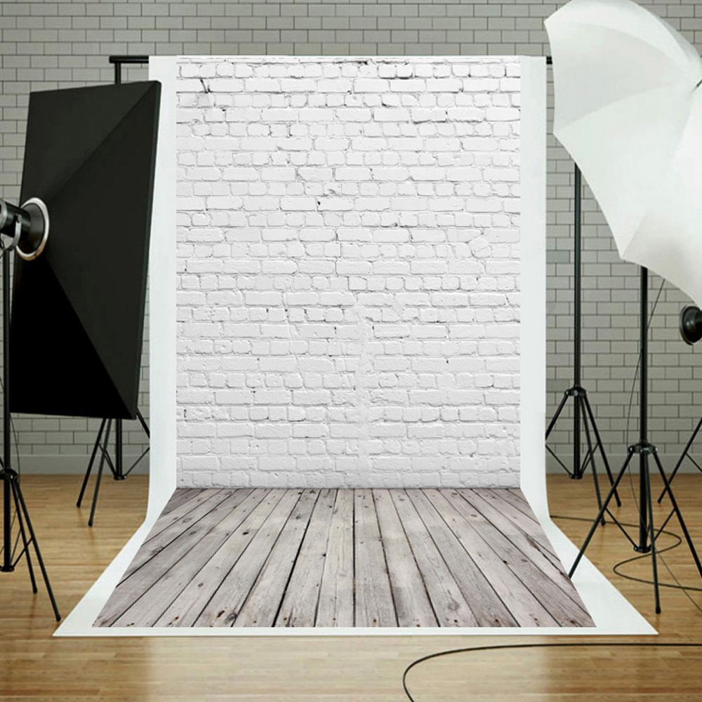 Vinyl White Brick Wall Wooden Floor Texture Photo Background Photocall Baby Child Portrait Pet Food Photography Backdrop Prop