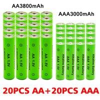 Щелочные аккумуляторы AA + AAA, аккумуляторные батарейки AA 1,5 в 3800 мАч/1,5 в AAA 3000 мАч, с фонариком, для игрушек, часов, MP3-плеера, сменные Ni-MH батареи