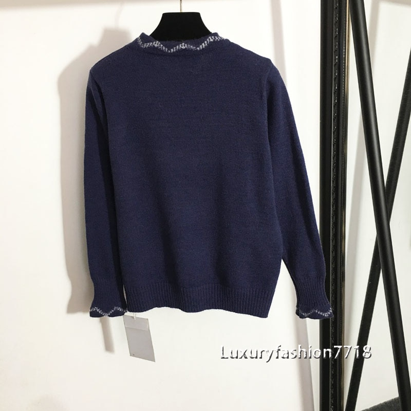 Brand fashion new style high end women clothes Letter logo jacquard Crew Neck Long Sleeve Knit Pullover Sweater woman sweaters enlarge