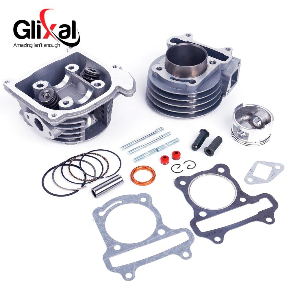 Glixal gy6 50cc 39mm chinês scooter motor reconstruir kit cilindro cabeça do cilindro assy para 4 tempos 139qmb 139qma ciclomotor atv
