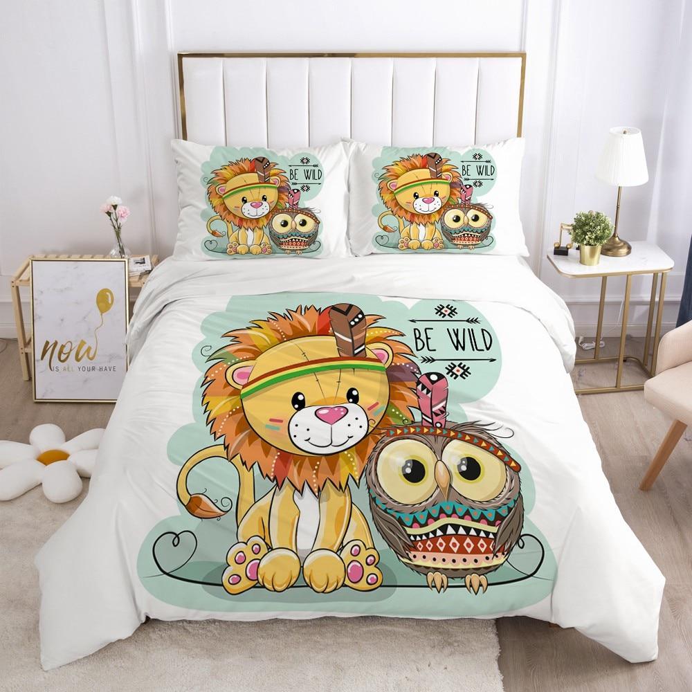 3D Cartoon Kids Bedding Set for Crib Children Boys Girls Baby Comforter Quilt Duvet Cover Set Pillowcase Cover Cute lion