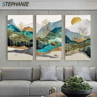 modern luxury landscape abstract canvas paintings print golden deer wall art picture for living room home decoration wall poster