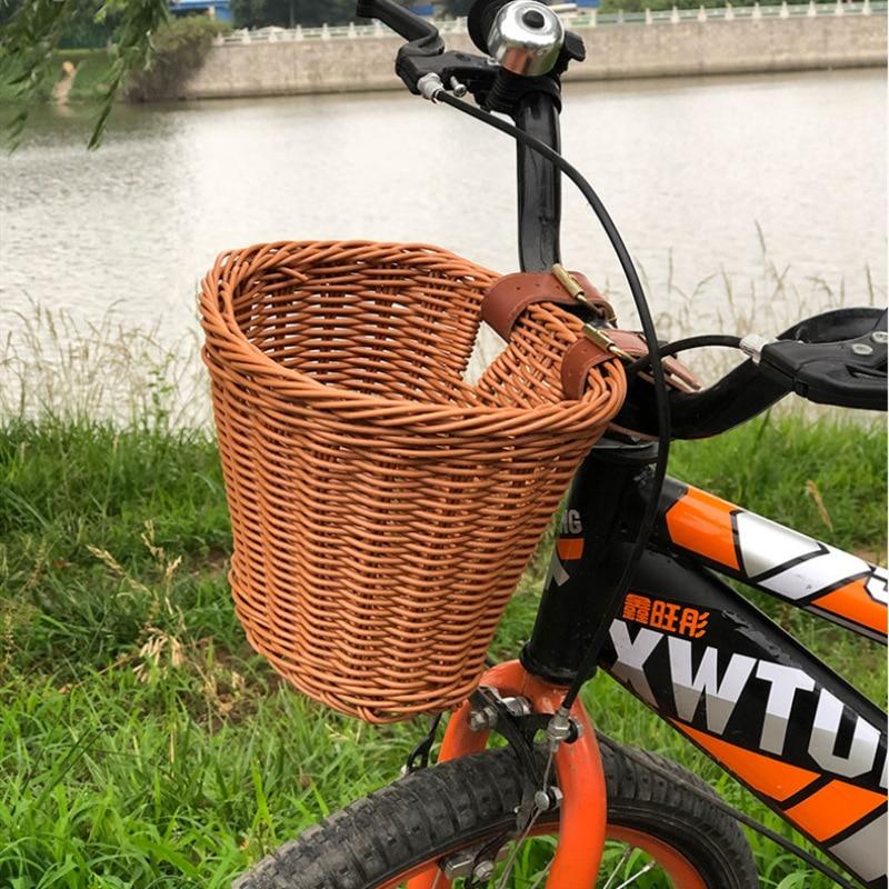 2021 New Imitated Rattan Bike Basket Kids Handwoven Bicycle Basket Rattan Bicycle Front Bag Storage Container Bike Accessories