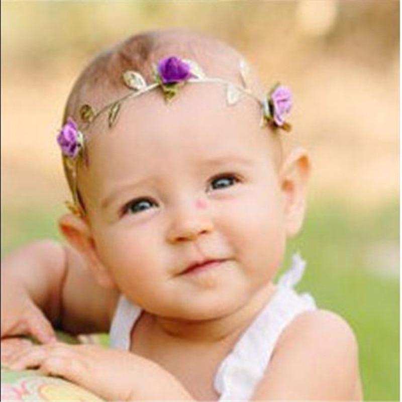 Crianças Bebê Subiu Coroa Headwear Novo Partido Flor Folhas Headbands Garland Cabeça Faixa de Cabelo Acessórios Bonitos Das Meninas Coroa de Flores Folha de Ouro