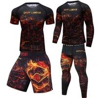 mma rashguard compression sport suit boxing jerseys mens kickboxing muay thai shorts fitness gym workout clothing running set