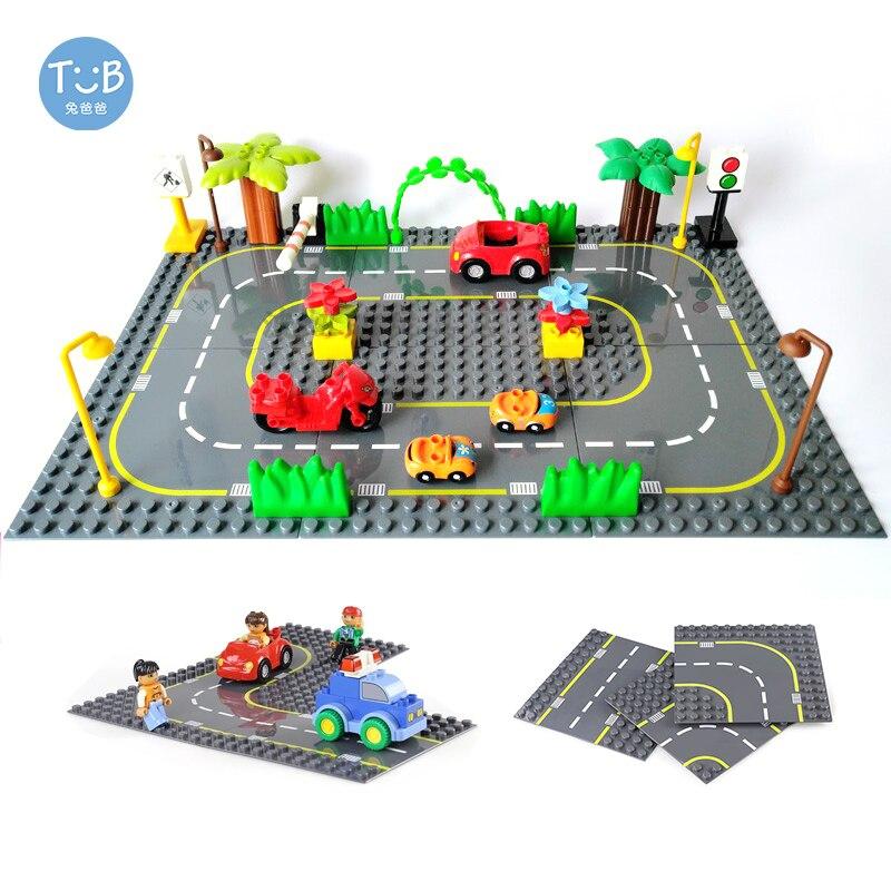 Placa Base carretera con Duploe serie ciudad calle edificio grande bloques juguetes educativos montados regalo niños