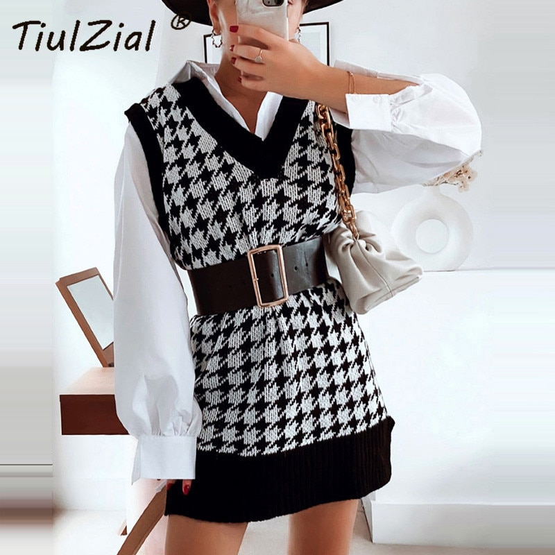 TiulZial Sleeveless Long Sweaters Dress Casual V Neck Oversized Sweater Women Houndstoot Vest Sweater Knitting Pullover Vest Top