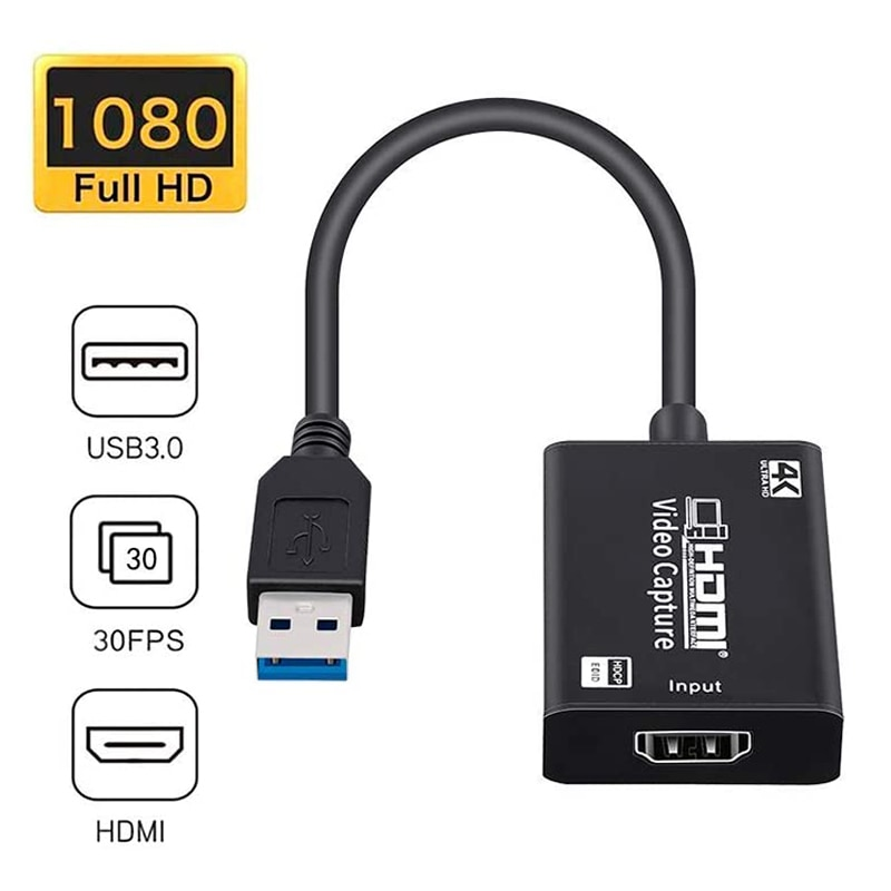 HDMI Video Audio Captura Tarjeta 4K HDMI a USB 3,0 HDMI captura dispositivo para alta definición adquisición HDMI cámara Video