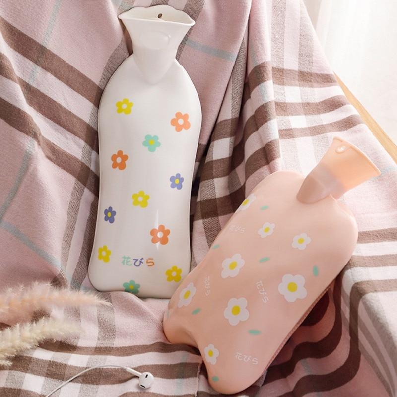 Linda botella de agua caliente de silicona con dibujos animados, Mini bolsas de agua caliente recargables a prueba de explosiones para estudiantes