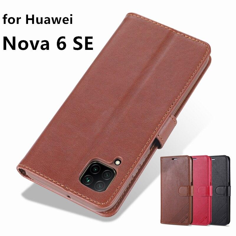 Funda AZNS Nova6 SE, funda de piel con tapa de gran calidad para Huawei Nova 6 SE, funda protectora de piel sintética para teléfono