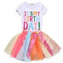 Kleinkind Baby Mädchen Geburtstag Party Outfit Bunte Brief T-shirt Kuchen Zerschlagen Tutu Röcke 2Pcs Kinder Mädchen Sommer Kleidung Sets 1-5T