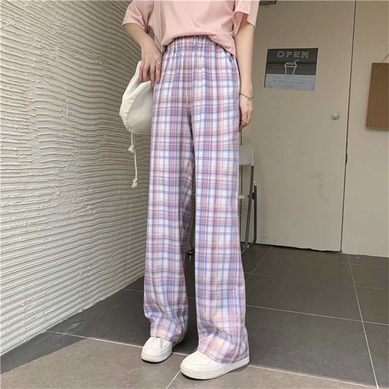 QWEEK Harajuku Korean Style Purple Plaid Pants Women Summer High Waist Checked Wide Leg Pink Trousers For Female Oversized