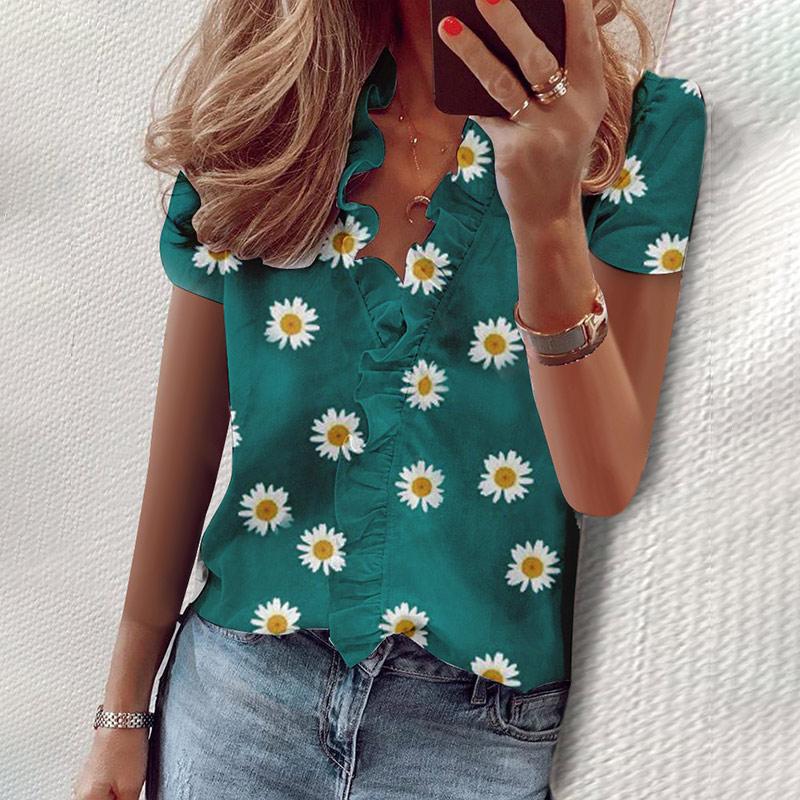 Daisy Blusa con volantes de las mujeres verano Tops 2020 niñas impreso de manga corta de cuello en V Casual blusas de nueva moda de señoras Blusa