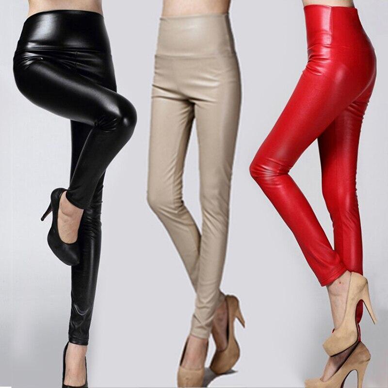 Otoño Invierno mujeres Thin Velvet PU cuero Pantalones mujer Sexy elástico Faux cuero Pantalón ajustado tipo lápiz mujer apretado pantalón