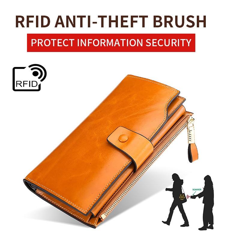 Купить с кэшбэком 2019 A/W Luxury Oil Wax Cowhide Leather Women Long Wallet RFID anti-Theft Bag Purse Credit Card Holder Money Holders Retro Bags