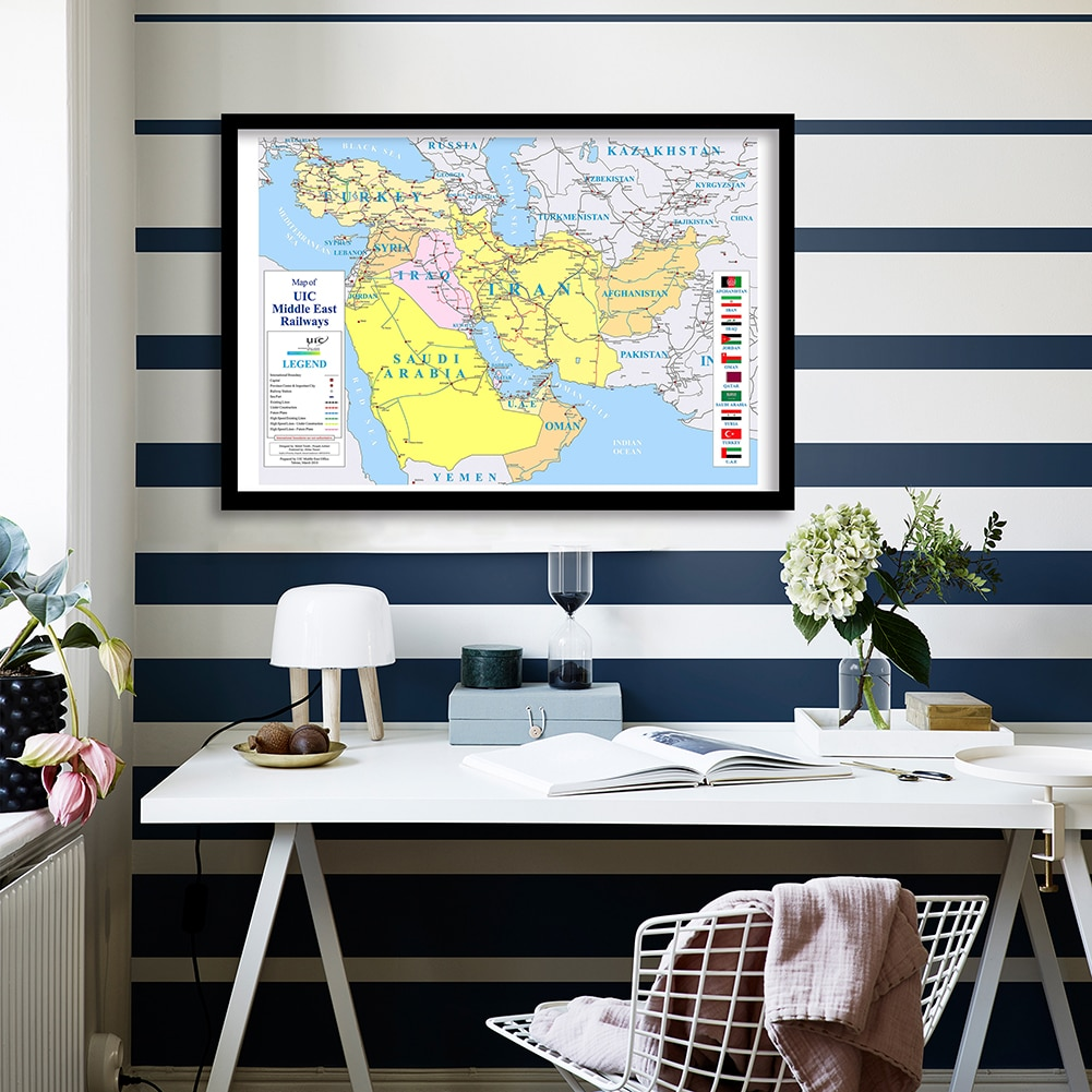 90*60cm The Middle East Railways Map with Country Flags Wall Art Poster Canvas Painting  Living Room Home Decor School Supplies