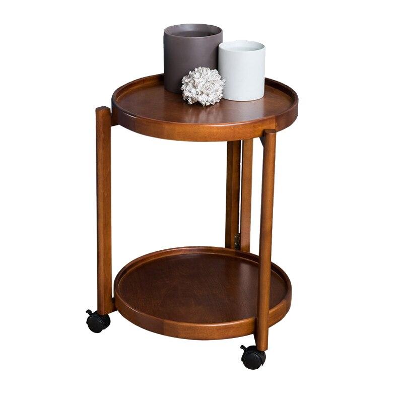الشمال طاولة جانبية مع عجلة خشب متين أريكة متحركة مستديرة غرفة المعيشة بسيطة الحديثة القهوة الصغيرة شرفة الزاوية تبويب