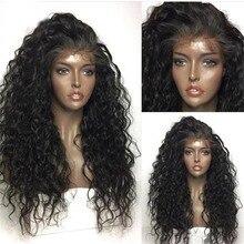 Pelucas largas rizadas con malla frontal para mujer, Pelo Rizado suelto negro con pelo de bebé, pelucas de encaje sintético