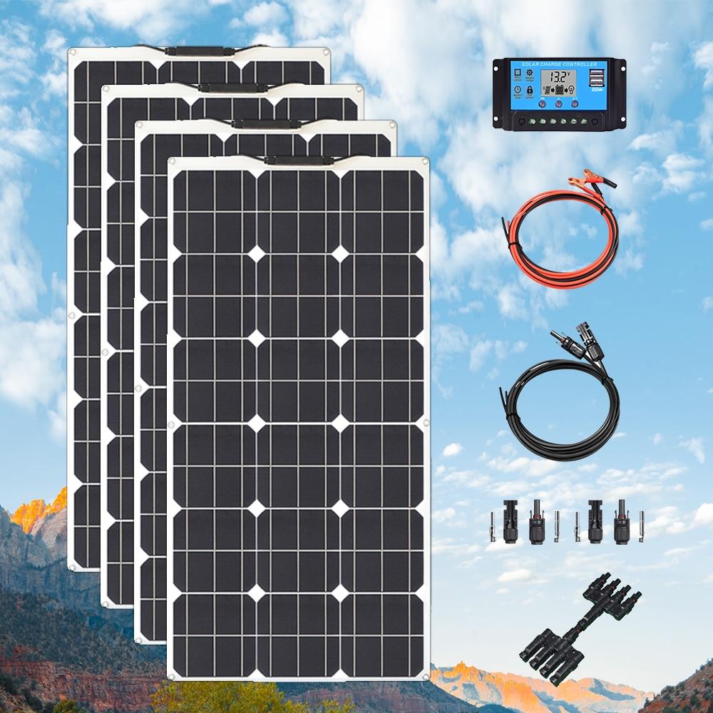 مرنة مجموعة اللوحة الشمسية 300 واط 400 واط 24 فولت 12 فولت خلية وحدة لوحات سولاريس ل قافلة قافلة قارب بطارية السيارة شحن الطاقة