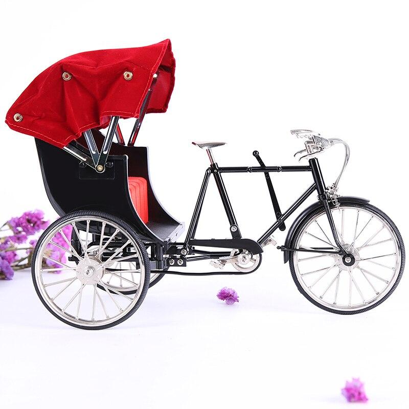 1:10 scale old Shanghai Beijing alloy three-wheel diecast rickshaw bike bicycle model toy simulation retro metal rickshaw gifts