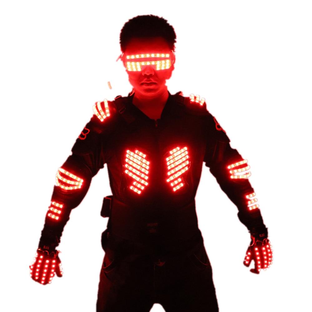 RGB colorido Light Armor trajes brillantes Clothe expositor de vestido Bar DJ MC Performance Robot hombres traje led trajes de salón