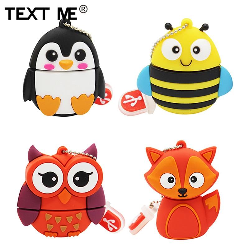 Texto 64GB lindo pingüino de dibujos animados búho fox estilo usb flash drive usb 2,0 de 1 GB 2GB 4GB 8GB 16GB 32GB vreative memoria usb para regalo