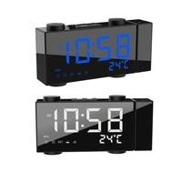 Digital Alarm Clock Projection Dual Alarms Snooze Temperature Time Display 180 Degree Rotation USB Output FM Radio LED Clock