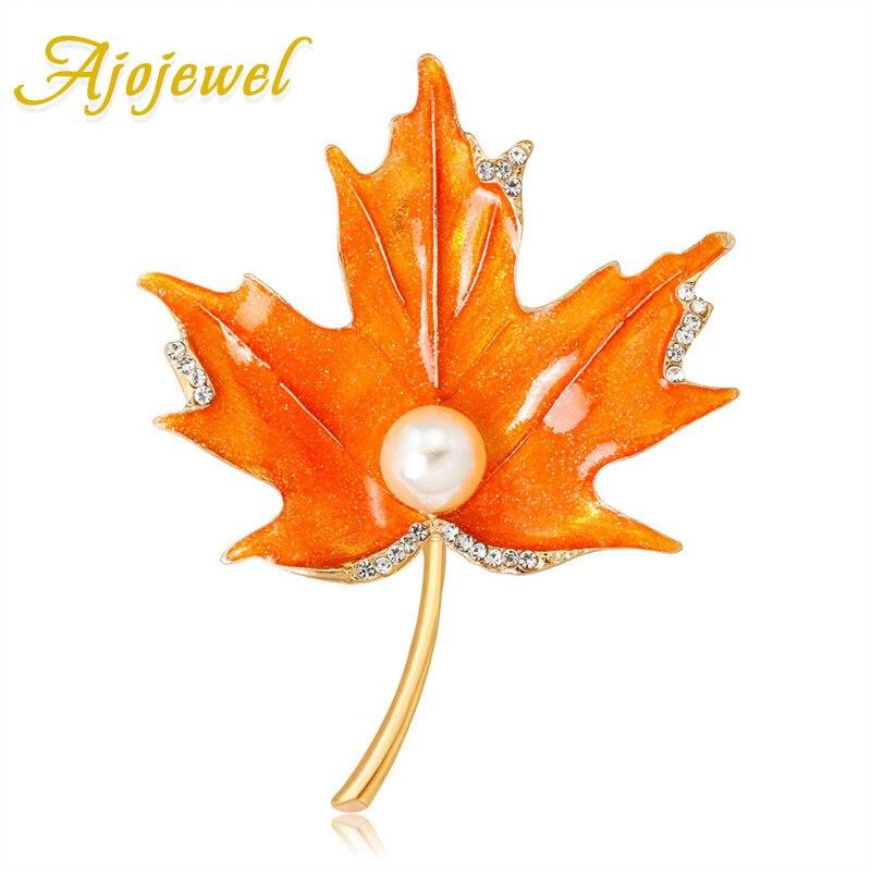 Ajojewel CZ esmalte hoja de arce broche con broches de perlas simuladas alfileres joyería al por mayor accesorios de mujer