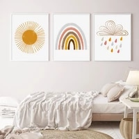 home decor boho style sun cloud rainbow nursery decor wall art canvas painting poster and print picture new baby gift kids room