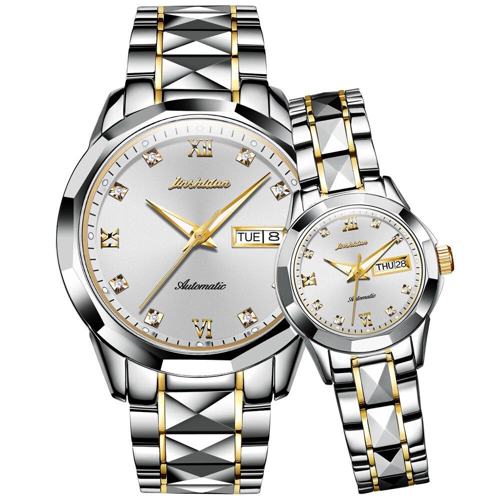 Automático de Luxo do Casal da Marca Impermeável do Aço de Tungstênio Jsdun-relógio Mecânico Superior Material 8813