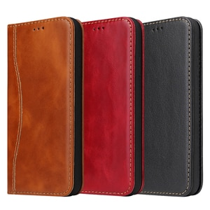 Fierre Shann Luxury Business Genuine Leather Case For iPhone 12 mini 11 Pro XR XS Max Card Slot Holder Stand Flip Phone Cover